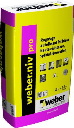 Ragrage spcial rnovation de sols intrieurs weber niv pro for Ragreage exterieur weber