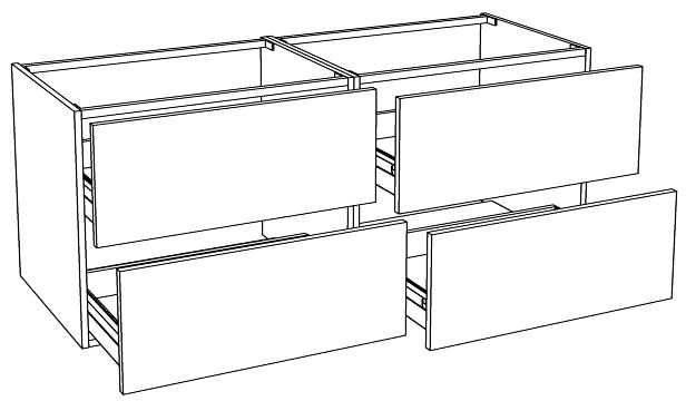 Meuble sous vasque loft 4 tiroirs de 140 cm for Miroir reflet sens 90